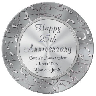 Personalized 25th Anniversary Plate, Porcelain Dinner Plate