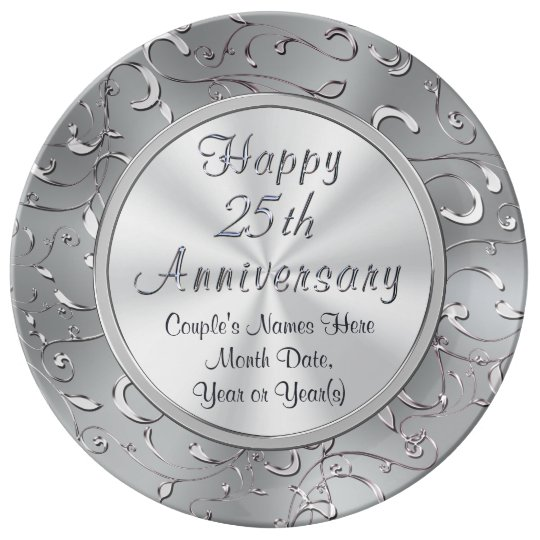 personalized 25th anniversary plate porcelain dinner plate