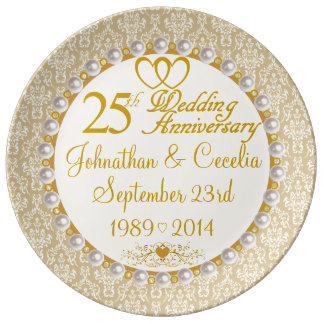Personalized 25th Anniversary Porcelain Plate