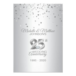 25th Anniversary Wedding Invitations Zazzle