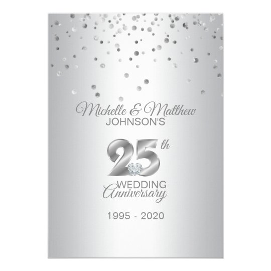 Personalized 25th Silver Wedding Anniversary Invitation