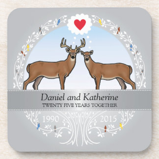 Personalized 25th Wedding Anniversary, Buck & Doe Beverage Coaster