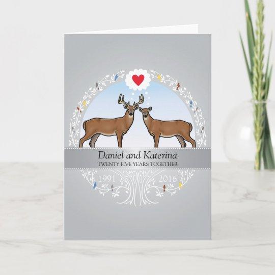 Personalized 25th Wedding Anniversary Buck Doe Card Zazzle Com