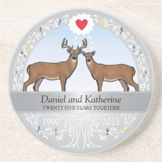 Personalized 25th Wedding Anniversary, Buck & Doe Coaster