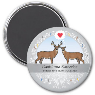 Personalized 25th Wedding Anniversary, Buck & Doe Magnet