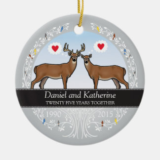 Personalized 25th Wedding Anniversary, Buck & Doe Double-Sided Ceramic Round Christmas Ornament