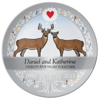 Personalized 25th Wedding Anniversary, Buck & Doe Porcelain Plate