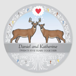 Personalized 25th Wedding Anniversary, Buck & Doe Classic Round Sticker
