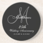 """Personalized 25th Wedding Anniversary Coaster<br><div class=""""desc"""">Personalized 25th Wedding Anniversary Coaster with monogram and name in white lettering on a black grey background. Monogram Logo Design by Elke Clarke &#169;2008. Customize with your last name,  monogram and wedding date using the prompts or select &quot;customize it&quot; to have more editing options.</div>"""
