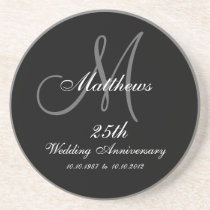 Personalized 25th Wedding Anniversary Coaster