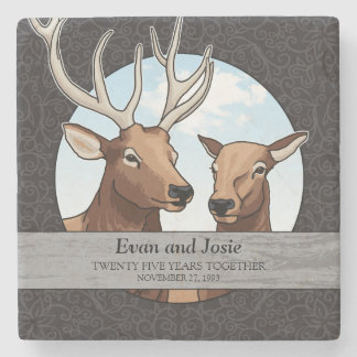 Personalized 25th Wedding Anniversary, Elk Stone Coaster