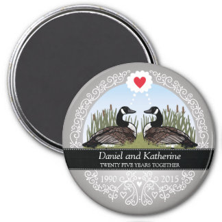 Personalized 25th Wedding Anniversary, Geese 3 Inch Round Magnet