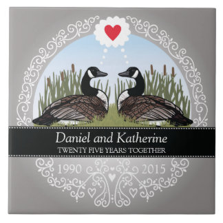 Personalized 25th Wedding Anniversary, Geese Ceramic Tile
