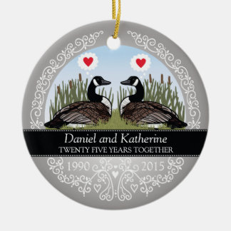 Personalized 25th Wedding Anniversary, Geese Double-Sided Ceramic Round Christmas Ornament