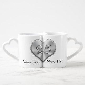Personalized 25th Wedding Anniversary Gifts Coffee Mug Set