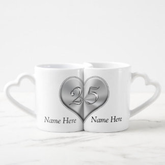 Personalized 25th Wedding Anniversary Gifts Coffee Mug Set