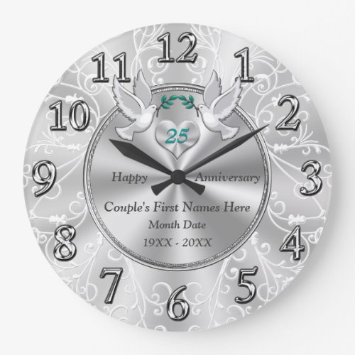 Personalized 25th Wedding Anniversary Gifts Large Clock