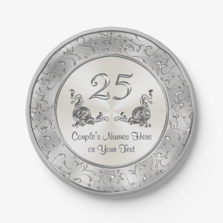 Personalized 25th Wedding Anniversary Paper Plates