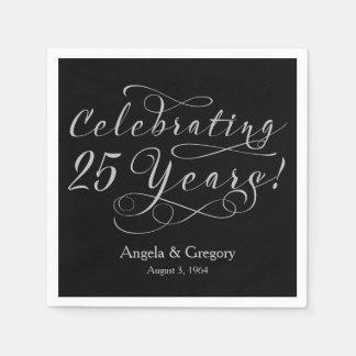 Personalized 25th Wedding Anniversary Silver Black Napkin