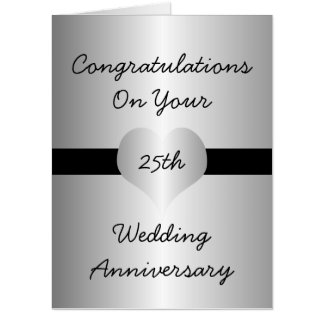Personalized 25th Wedding Anniversary Silver Heart Card