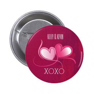 Personalized 2 Hearts on a Fuschia Pink Background Button