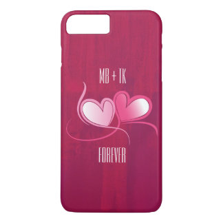 Personalized 2 Hearts on a Fuschia Pink Background iPhone 7 Plus Case