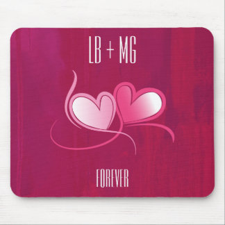 Personalized 2 Hearts on a Fuschia Pink Background Mouse Pad