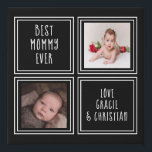 "Personalized 2 Photo Black Faux Canvas Print<br><div class=""desc"">Black and white -  Personalized 2 Photo keepsake wall art - Faux Wrapped Canvas Print from Ricaso - add your own photos and text - photo collage keepsake gifts</div>"