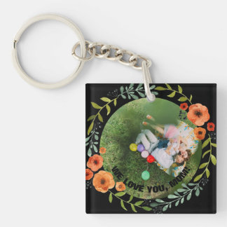 Personalized 2 Photos | Floral Mom Mother's Day Keychain