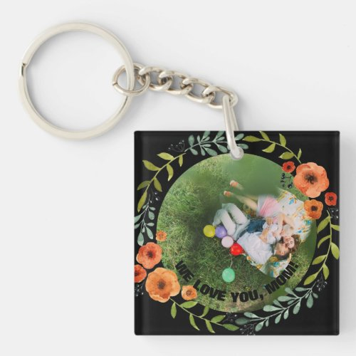Personalized 2 Photos  Floral Mom Mothers Day Keychain