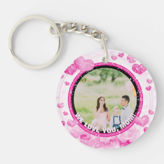 Personalized 2 Photos   For Mom Pink Hearts Keychain