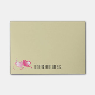 Personalized 2 Pink Hearts with Ribbons Post-it® Notes