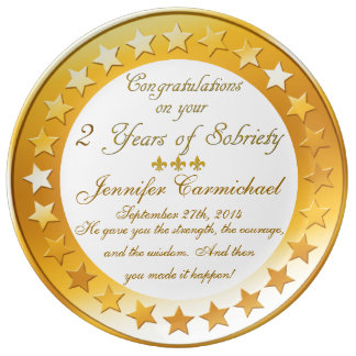 Personalized 2 Years of Sobriety Anniversary Plate Porcelain Plate