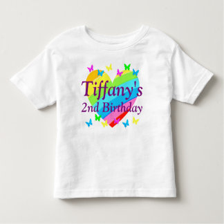 PERSONALIZED 2 YR OLD HEARTS & BUTTERFLIES T SHIRT