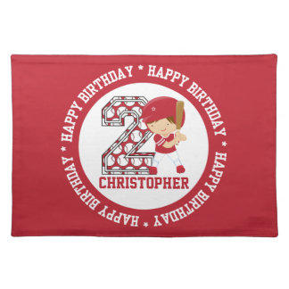 Personalized 2nd Birthday Baseball Batter Red Cloth Placemat
