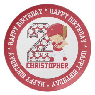 Personalized 2nd Birthday Baseball Batter Red Dinner Plate