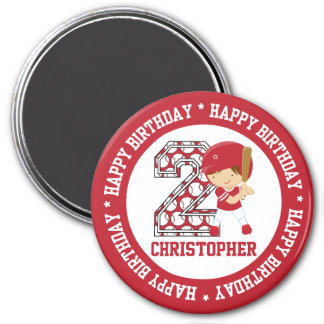 Personalized 2nd Birthday Baseball Batter Red 3 Inch Round Magnet