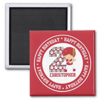 Personalized 2nd Birthday Baseball Batter Red 2 Inch Square Magnet