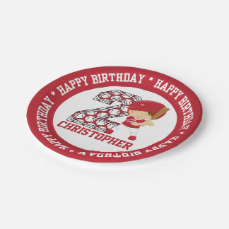 Personalized 2nd Birthday Baseball Batter Red Paper Plate