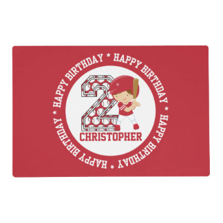 Personalized 2nd Birthday Baseball Batter Red Placemat