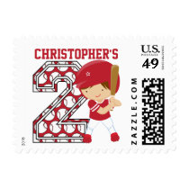 Personalized 2nd Birthday Baseball Batter Red Postage