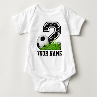 Personalized 2nd Birthday Soccer Name Baby Bodysuit