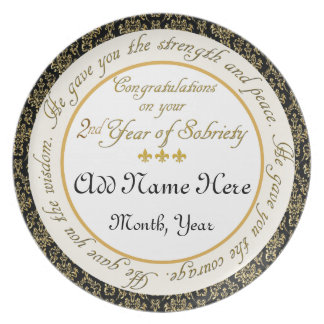 Personalized 2nd Year Sobriety Anniversary Plate