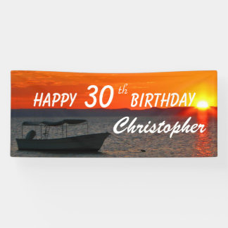 Personalized 30th 35th Birthday Sign Fishing Boat
