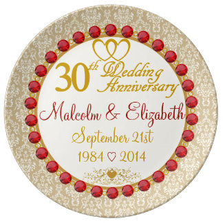 Personalized 30th Anniversary Porcelain Plate