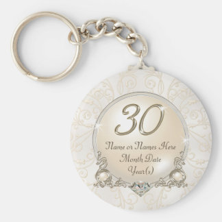 Personalized 30th Birthday Favors or Anniversary Keychain