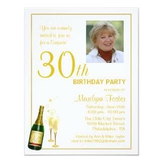 "Personalized 30th Birthday Party Photo Invitations 4.25"" X 5.5"" Invitation Card"
