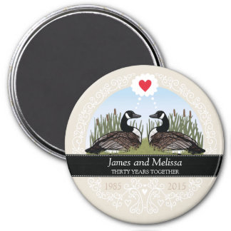 Personalized 30th Wedding Anniversary, Geese 3 Inch Round Magnet