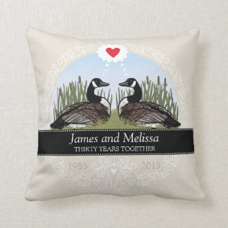 Personalized 30th Wedding Anniversary, Geese Throw Pillow