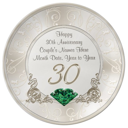 Personalized 30th Wedding Anniversary Gift Ideas Plate Zazzle